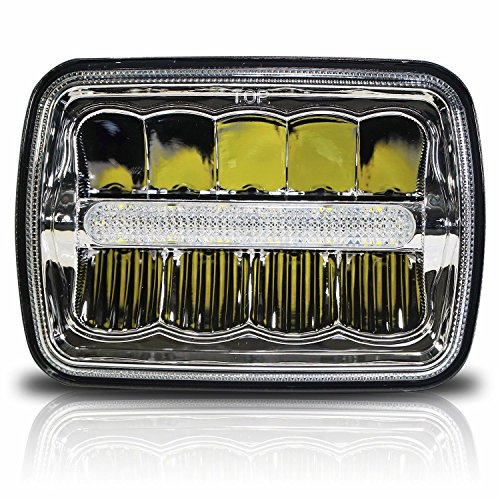Sealed Bulb Beam Lamp (7x6 LED Headlights HID Light Bulbs Crystal Clear Sealed Beam Headlamp w/DRL 7