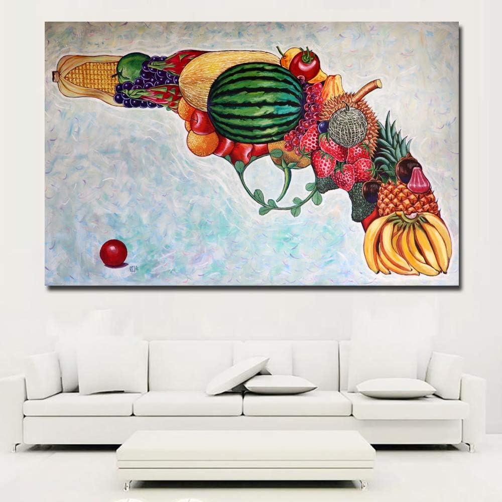 tzxdbh Resumen Pistola Hecha de Frutas Pintura Cuadros Coloridos ...
