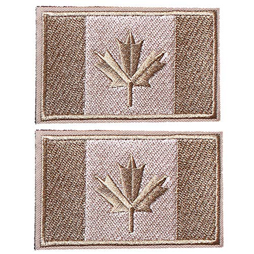 SHELCUP 2 Pcs Canada Flag Patches, Tactical Tags Morale National Emblem Patch for Backpack, Hats, Jackets, Team Uniform, Coyote