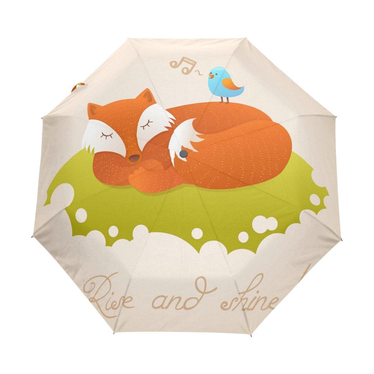 BENNIGIRY Cute Sleeping Red Fox 3 Pliegues Paraguas de Cierre automático, Compacto, Resistente al Viento, Portátil, Durabilidad, Viaje, Lluvia Paraguas ...