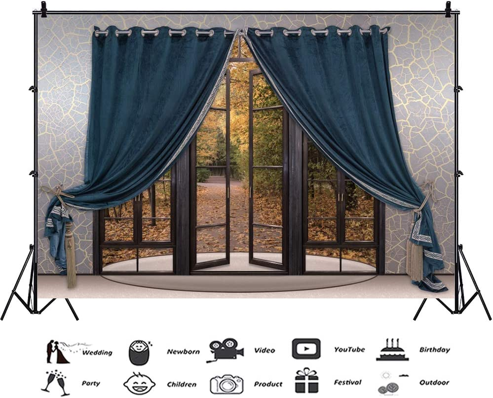 CSFOTO 10x8ft Interior Room Backdrop Living Room Decoration Background for Photography Bedroom Interior Decoration Blue Curtain Wooden Door Autumn Scenery Golden Forest Adults Portraits