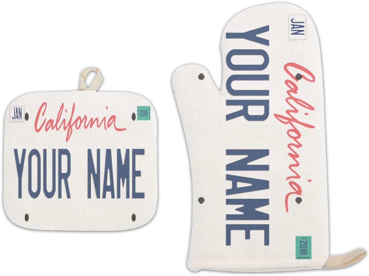 Bleu Reign BRGiftShop Personalized Custom Name California State License Plate Linen Oven Mitt and Potholder Set