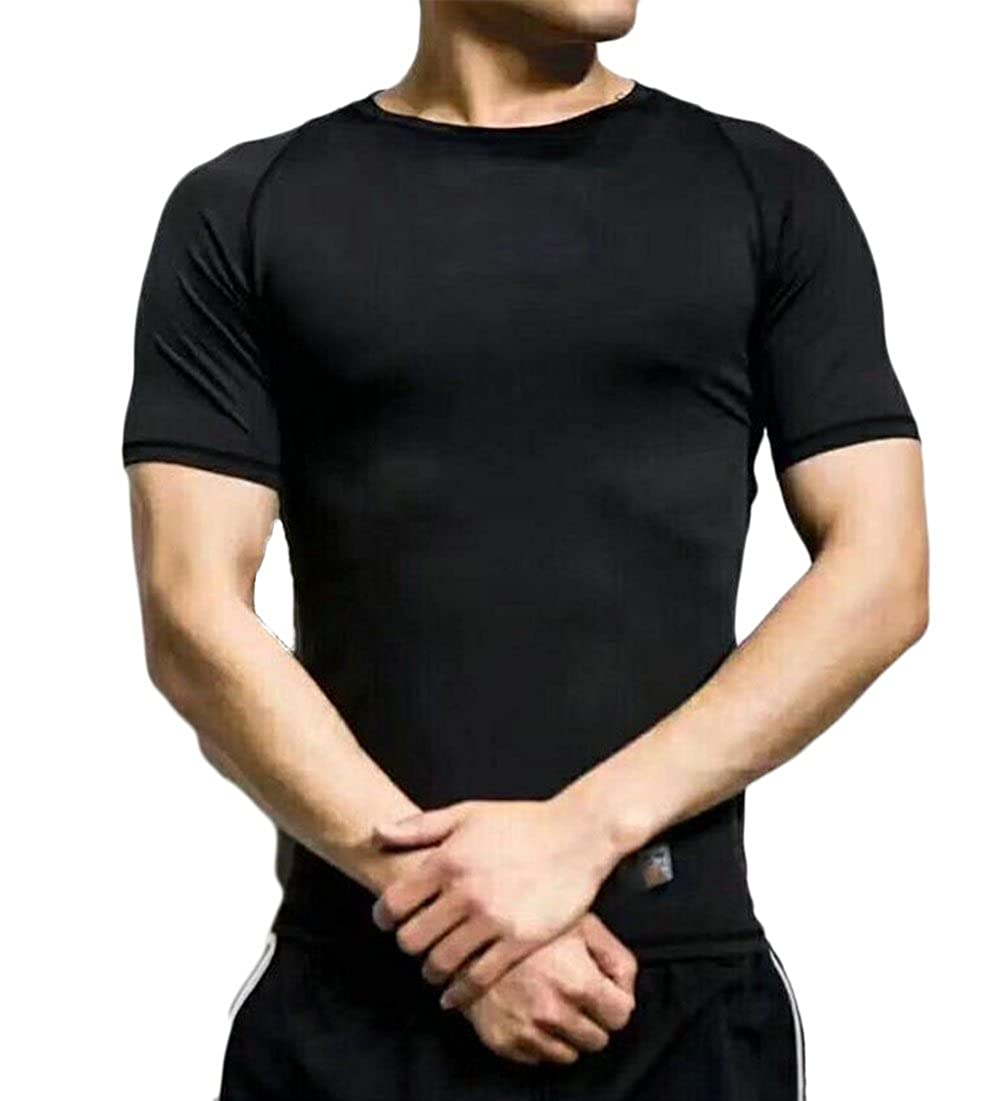 JSY Mens Quick Drying Round Neck Short Sleeve Sports T Shirt Top Tees