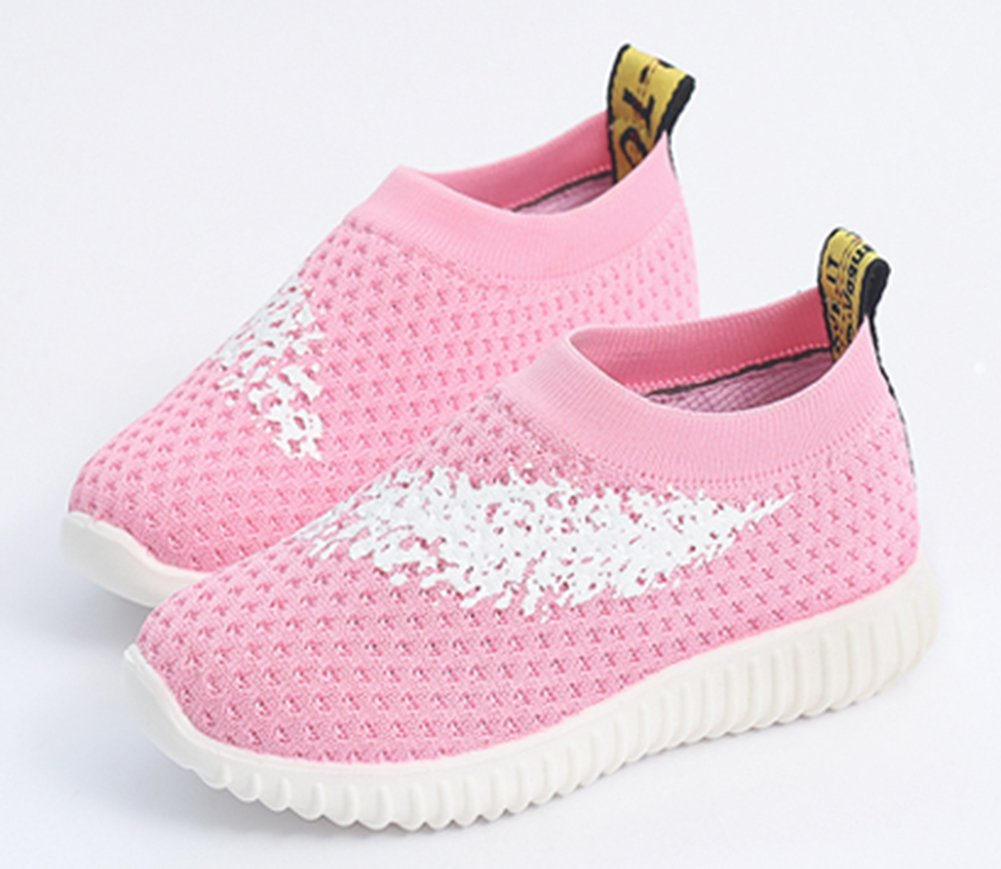 InStar Girls' Sweet Mesh Round Toe Low Top Breathable Slip-ONS Loafers Shoes Pink 5.5 M US Big Kid by SFNLD (Image #2)