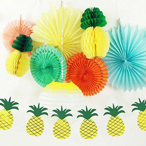 SUNBEAUTY Pack of 9 Yellow Orange Green Tissue Paper Decorative Kit for Luau Party Summer Beach Photo Backdrop Decoration (Style - Orange County Style