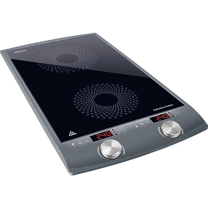 Sencor SCP 4202GY - Placa de inducción con 2 zonas de cocción, color gris, color negro
