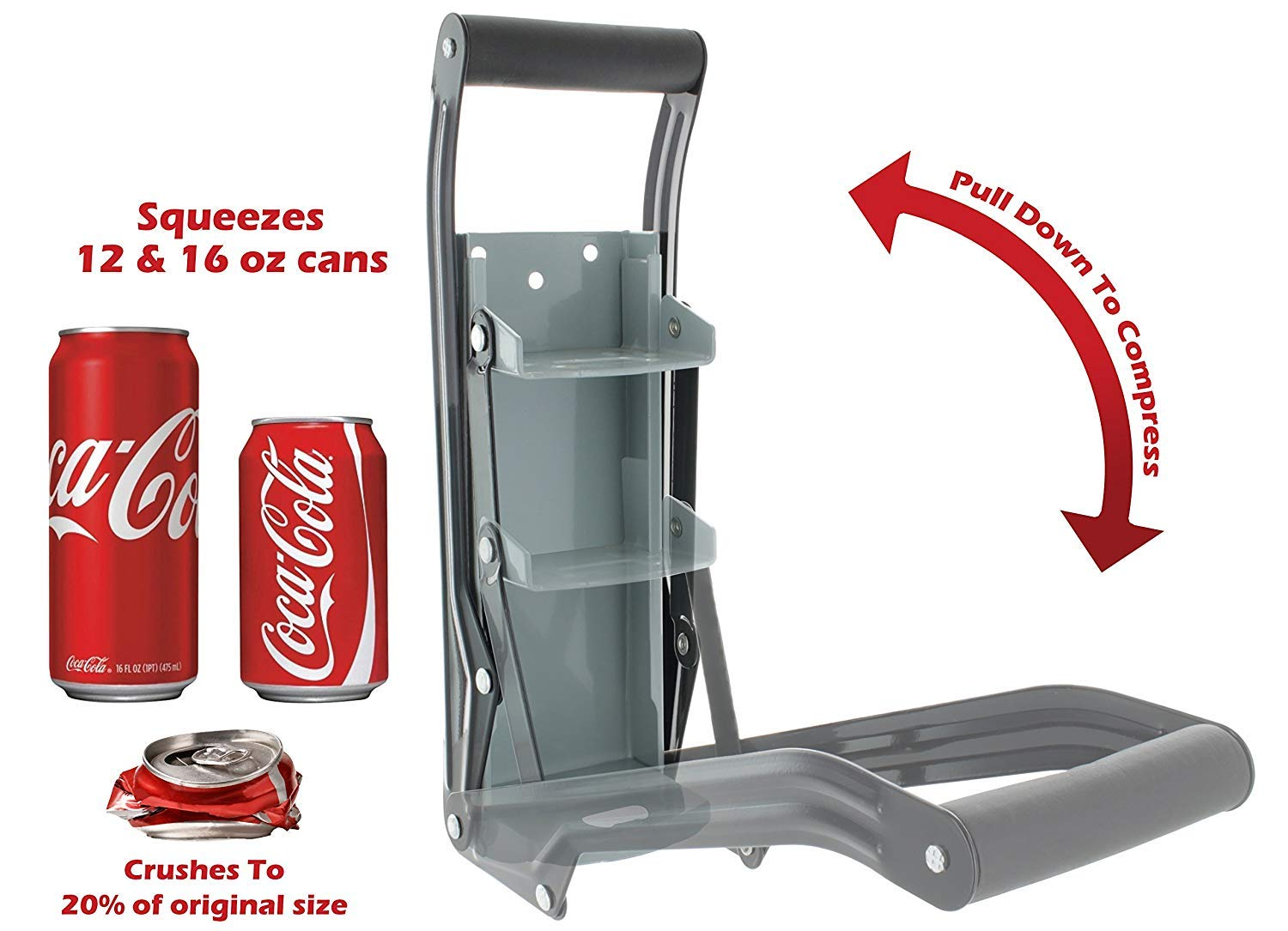 Delta Prime Savings Club - 12oz / 16oz Metal Can Crusher/Smasher, Crushes Soda Cans, Beer Cans and Water Bottles - Heavy Duty Large Metal Wall Mounted Soda Beer Smasher - Eco-Friendly Recycling Tool by Delta Prime Savings Club