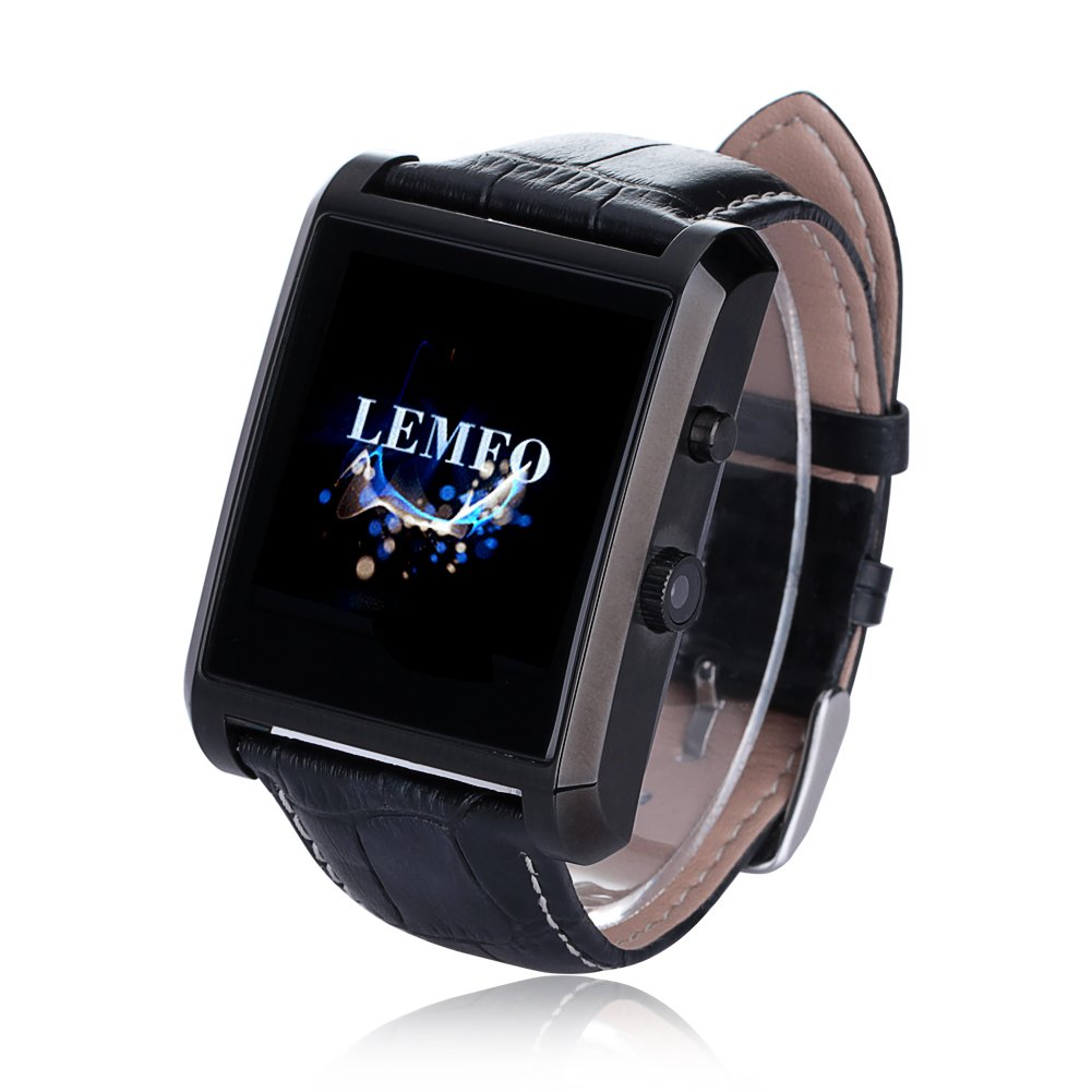 amazon com lemfo bluetooth leather smart watch camera ips amazon com lemfo bluetooth leather smart watch camera ips screen 360mah battery waterproof for ios iphone android smartphone black cell phones