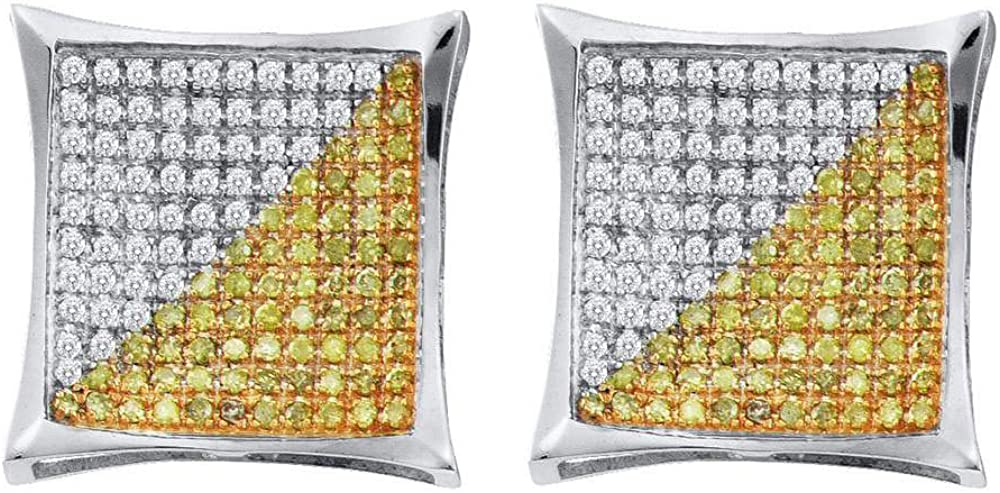 10kt White Gold Mens Round Yellow Color Enhanced Diamond Square Cluster Earrings 1//4 Cttw