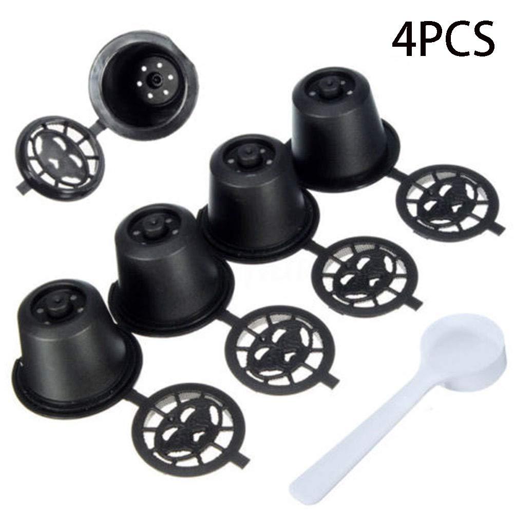 4pcs filtro riutilizzabile, ricaricabile capsule di caffè tazza con cucchiaio e pennello capsule di caffè cialde per caffè Nespresso SDYDAY