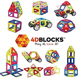 4DBlocks - Play it , Love it! - Magnetic Building Block Set – 40 Pieces – Promotes Creativity, Imagination & Brain Development – The Best Combination Of Recreation & Education For Children