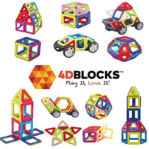 4DBlocks - Play it , Love it! - Magnetic Building Block Set–40 Pieces(Important! 2.52inch) – Promotes Creativity, Imagination & Brain Development–Recreation & Education For Children