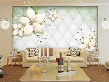 Wallpaper Photo Wallpaper Handmade Flower 3d Stereo Soft Case Tv Wall Wallpaper For Walls 3 D Papel De Parede Para Quarto 150cm 105cm Amazon Com