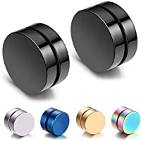 8mm 5 Pair Stainless Steel Magnetic No Piercing Gauges Earring Studs,for Non Pierced Ears,Black,Silver,Colorful,Hypoallergenic