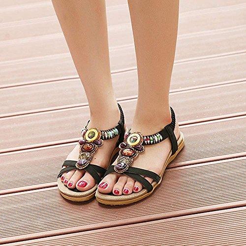 Fullkang Women Fashion Bohemian Sweet Beaded Clip Toe Flats Tribal Sandals Black klLxw