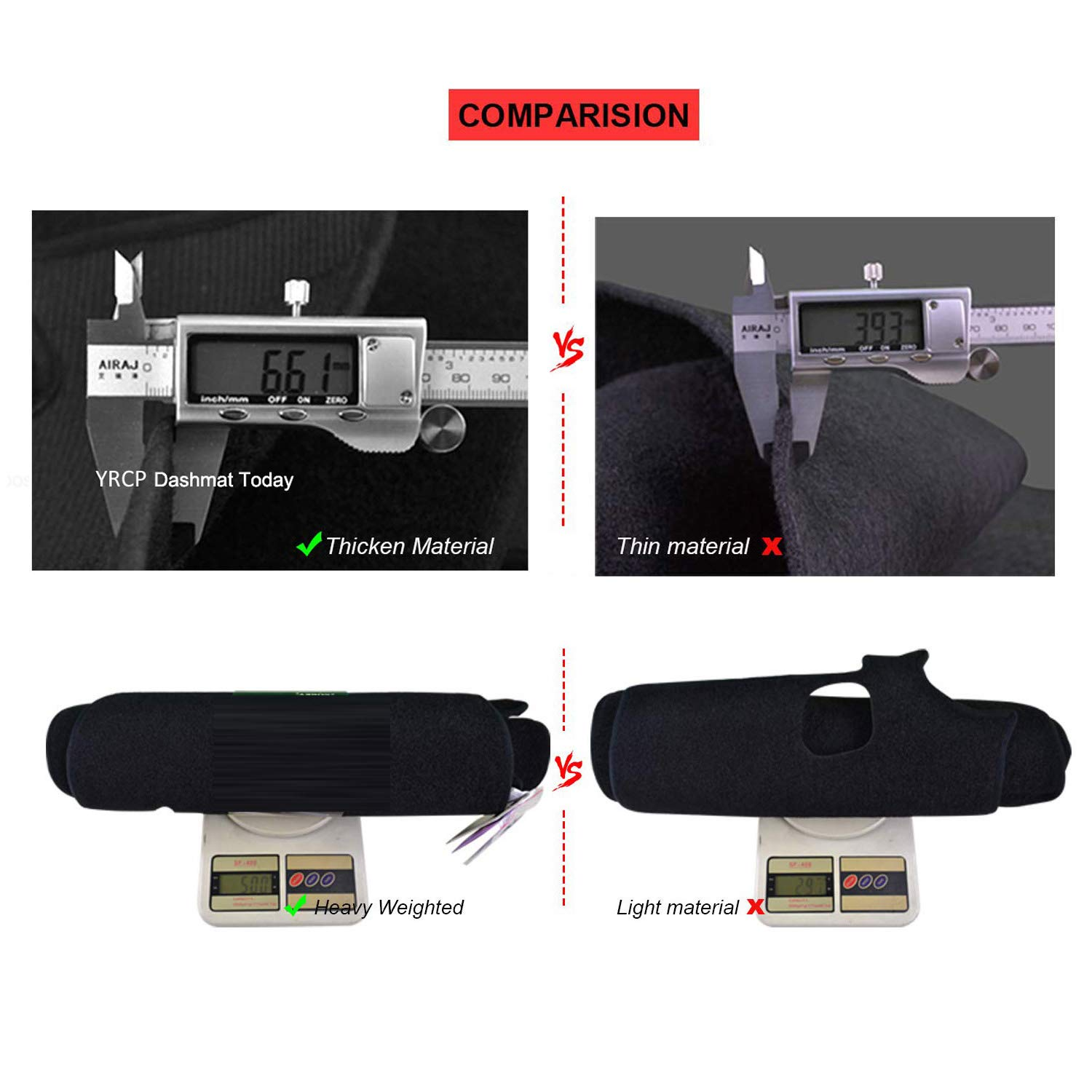 MR024 Fits Chevrolet Tahoe 2007-2013 Models with YRCP Dashboard Cover Carpet Black Left Driving