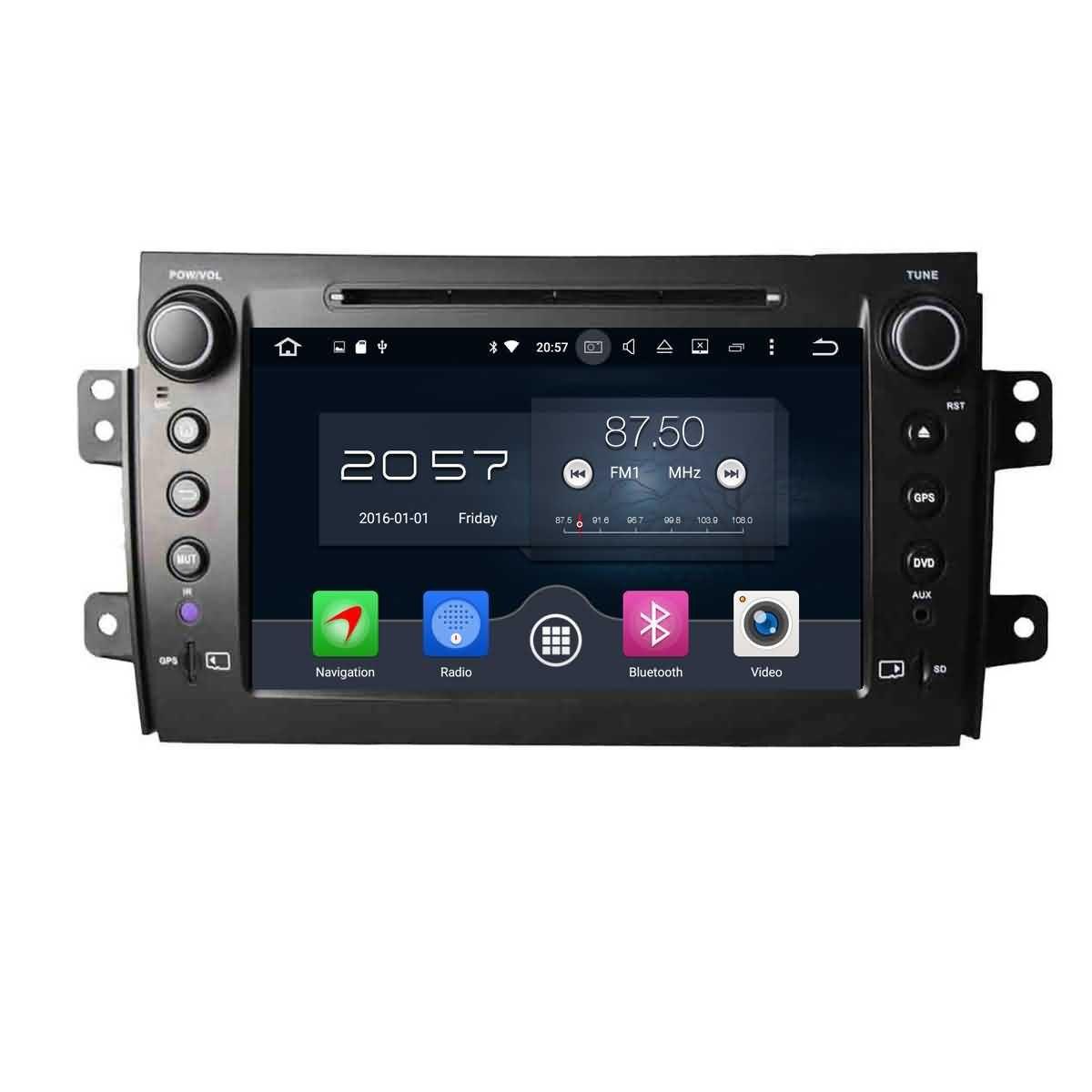 2 Din 8 pouces Android 6.0 OS stéréo de voiture pour Fiat Sedici 2006 2007 2008 2009 2010 2011 2012 2013,DAB+ radio 1024x600 écran tactile capacitif Cortex A53 8 Core 1.5G CPU 2G DDR3 RAM 32G Flash GPS Na