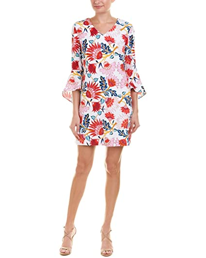 f62989cf49be Tahari by ASL Women's Printed Bell Sleeve Shift Dress White/Coral/Navy 12