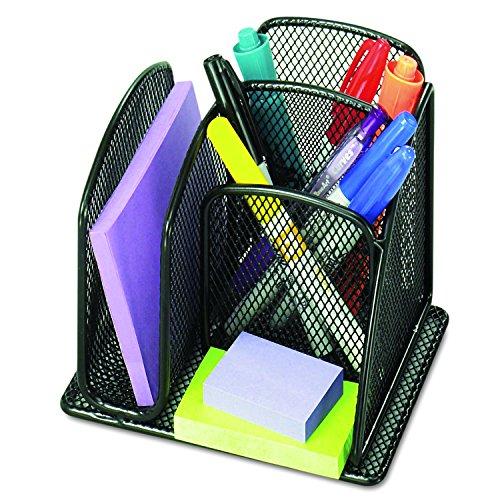 (Safco 3250BL Onyx Mini Organizer with Three Compartments, Black, 6 x 5 1/4 x 5 1/4)
