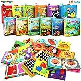 Mi Primer Libro, teytoy 12pcs Libros para Bebés Tela no Tóxica para Bebés Actividad Crinkle Libros Blandos para Bebés Niños y Niñas Juguetes Educativos Regalo