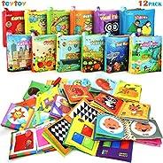 Mi Primer Libro, teytoy 12pcs Libros para Bebés Tela no Tóxica para Bebés Actividad Crinkle Libros Blandos par