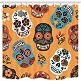 GoEoo Mexican Festival Shower Curtains for Bathroom Sugar Skull for Day of The Dead Polyester Fabric Waterproof Bath Curtain Shower Curtain Hooks Included 69X70in