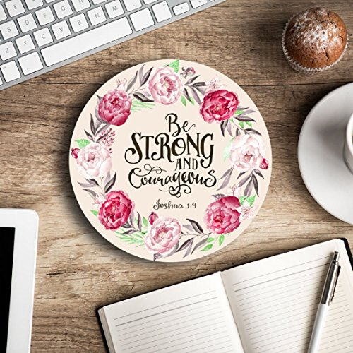 Be strong and courageous - Christian quote - Inspirational Office Decor Mouse pad with bible verse - Pretty office decor - Decorate your office space