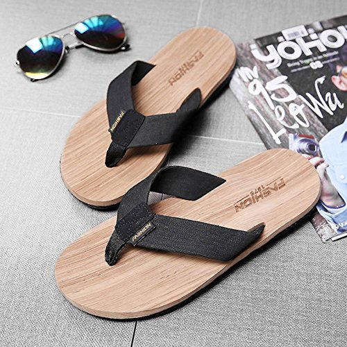 Sunny Sandals Male Summer Pinch Non-Slip Personality Wood Grain Beach Outdoor Trend Slippers Beige QsWCo6