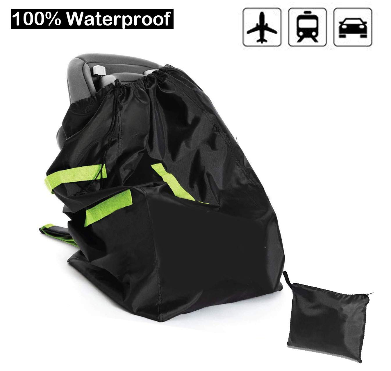 Car Seat Travel Carrier Bag Cover Airplane Gate Check Backpack for Traveling, Airport Safety Deluxe, Big, Waterproof Safety Wrap-Protector| Durable 420D Oxford Fabric, Fits Car Seats, Infant Carriers by Haibin Xiongdi
