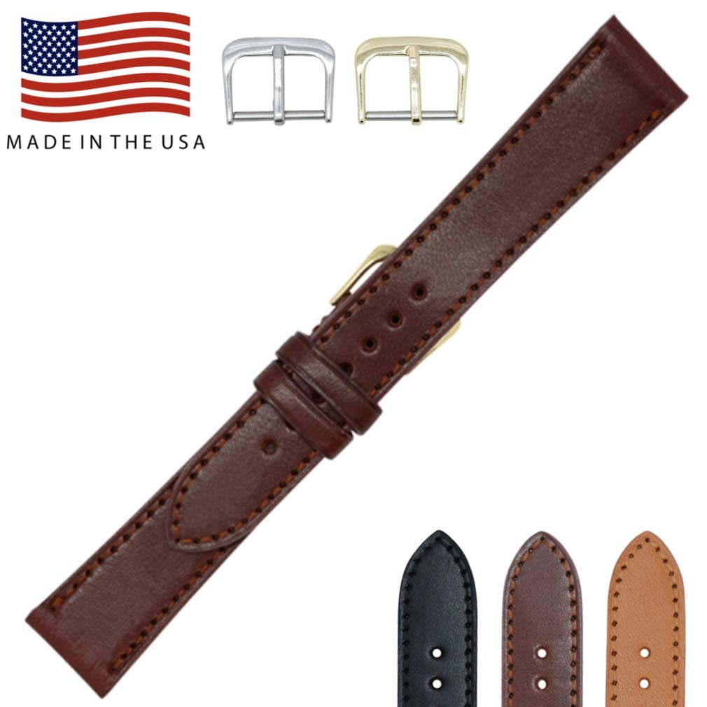 19mm British Brown - English Bridle Leather - Flat Stitched Watch Strap Band - Gold & Silver Buckles Included – Factory Direct - Made in USA by Real Leather Creations FBA223