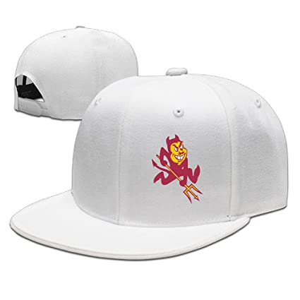 44bc2754 SSEE Unisex Arizona State University Sun Devils 02 Flat Brim Hip Hop Hats  Caps White