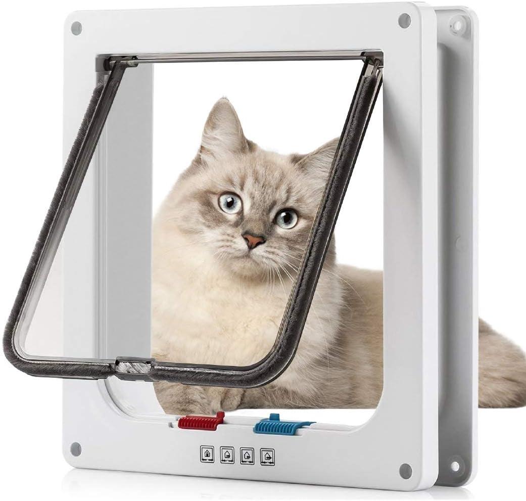 Sailnovo Puerta para Gato con Cierre magnético de 4 vías, Puerta para Mascotas para Gatos y Perros pequeños, Puerta para Gatos con túnel (Blanco, XL)