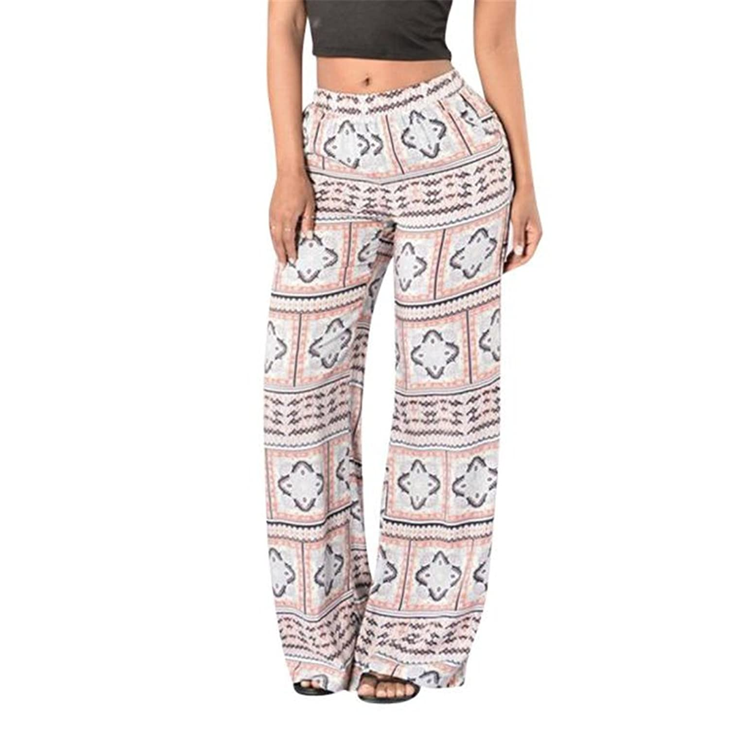 e26698ab7d high-quality HN Women Printing High Waist Wide Leg Long Pants Trousers  Casual
