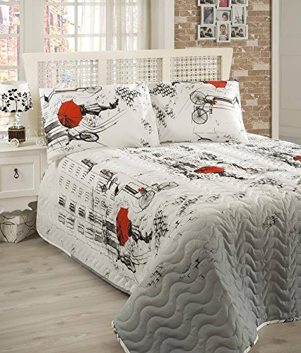 LaModaHome Luxury Soft Colored Bedroom Bedding 65% Cotton 35% Polyester Quilted Cover (Padded) 100% Fiber Filling Bicycle Umbrella Red Line House Square Building Window Size