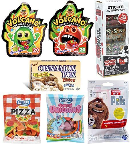 Volcano Pop! Candy Fun Green Apple & Strawberry Pack + Gummi Unicorns & Pizza Slices / Cinnamon Bun Cookie Dough Bites & Mickey Mouse Activity Stickers & Secret Life of Pets Mini Figure ()