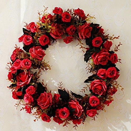 Meiyiu 45cm 18-inch Silk Flower Door Wreath Spring Summer Garden Wreaths Decorating for sitting room, hotel, wedding scene,wedding car, villa decoration