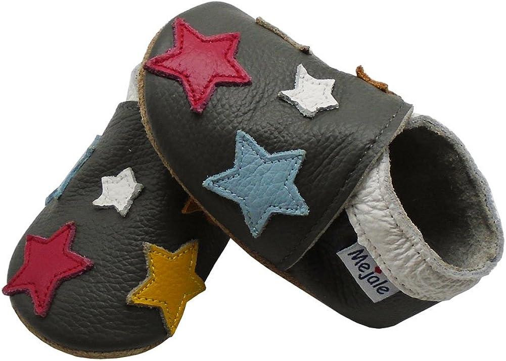 Mejale Chaussons Enfant B/éb/é en Cuir Doux-Chaussons Cuir Souple-Chaussures Premiers Pas-Dessin anim/é /Étoiles