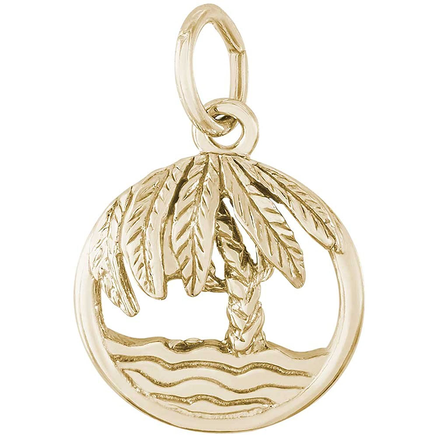 10K Yellow Gold Rembrandt Charms Palm Tree and Wave Charm