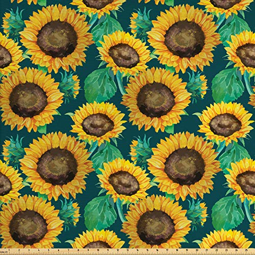 Lunarable Sunflower Fabric by The Yard, Watercolor Heliantus Pattern Detailed Petals and Leaves Floral Design, Decorative Fabric for Upholstery and Home Accents, 3 Yards, Teal Marigold Brown