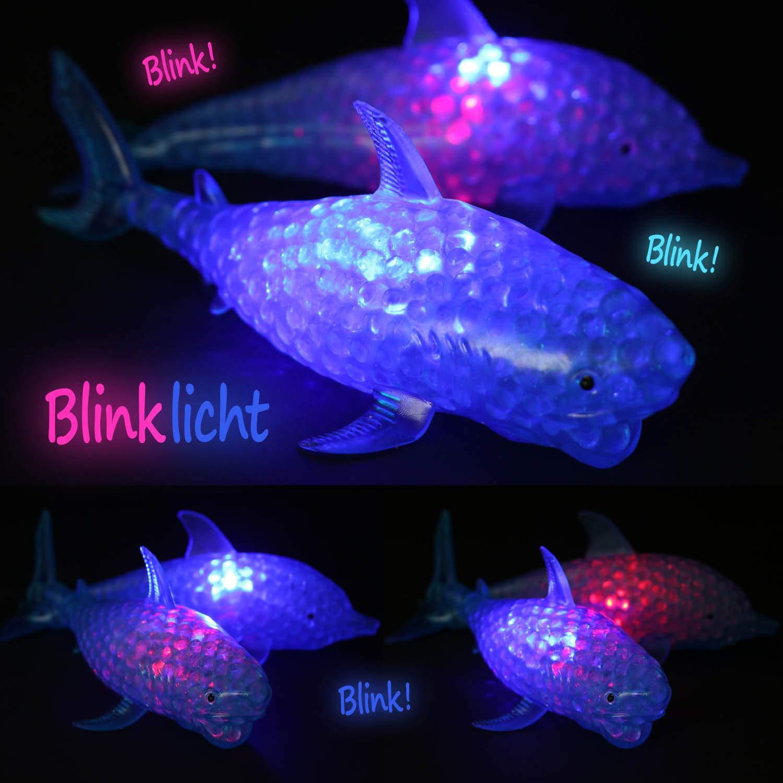 la selecci/ón var/ía com-four/® 2X Figura antiestr/és con luz LED Intermitente Pellizca la Bola en Forma de tibur/ón o delf/ín para ni/ños y Adultos 02 Piezas - Pescado