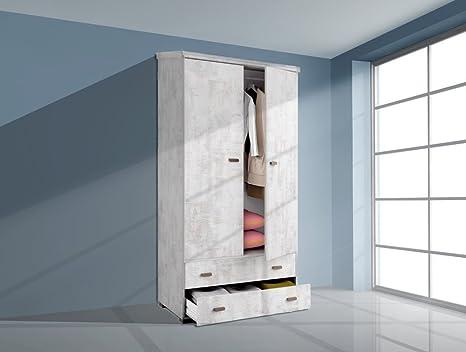 Armadio da 100 x 200 cm, con 2 ante e 2 cassetti, colore: bianco ...