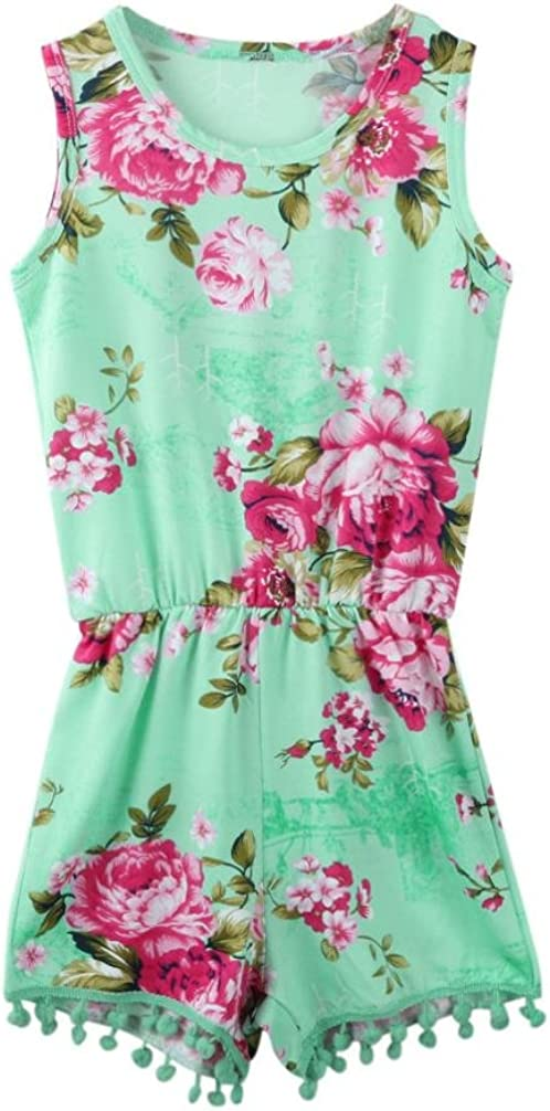 Floral Clothes O-Neck Jumpsuit Fartido Baby Girls Sleeveless Romper