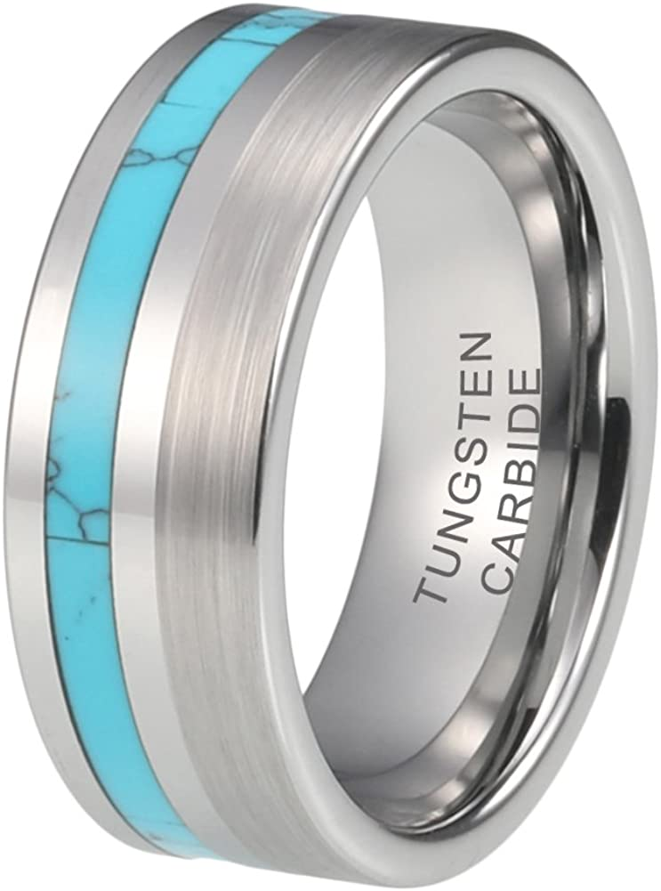 iTungsten 8mm Tungsten Rings for Men Women Wedding Bands Natural Koa Wood//Turquoise Inlay Polished Matte Comfort Fit