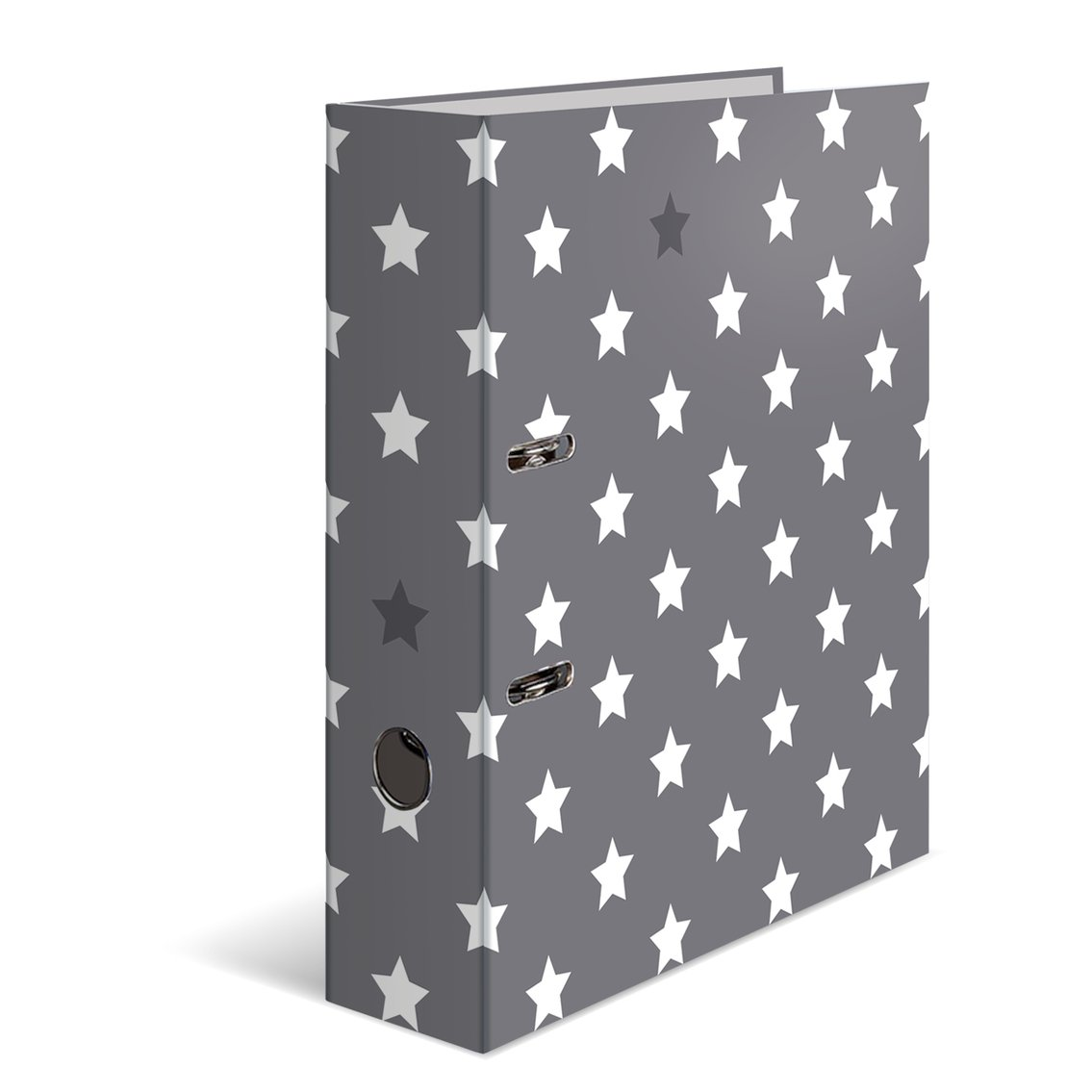 Herma 7194 Cardboard Folder A4 Series Stars – Grey with White Stars – 70 mm Wide, 1 File, with Printed