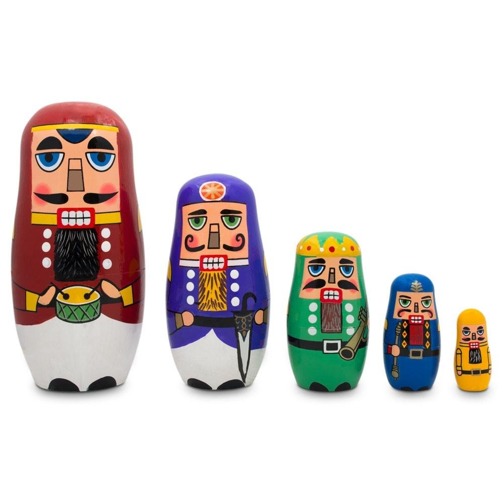 BestPysanky Nutcrackers with Drums, Sword, Trumpet Wooden Nesting Dolls 5.5 Inches