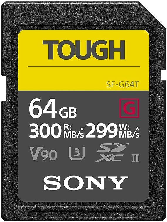 Sony Tough-G Series SDXC UHS-II Card 64GB, V90, CL10, U3, Max R300MB/S, W299MB/S (SF-G64T/T1)