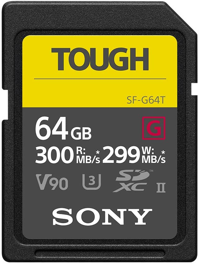 Sony Tough-G Series SDXC UHS-II Card 64GB, V90, CL10, U3, Max R300MB/S, W299MB/S (SF-G64T/T1)