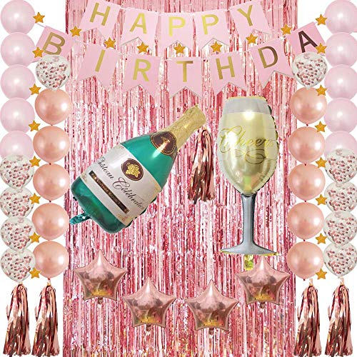 Happy Birthday Party Decoration Kit with Tissue Pom Pom Banner,Champagne Bottle Goblet,Confetti Latex Balloons,Metallic Fringe Curtain for Adult,Women,Men'Gift as Table Wall Decor,Photo Props Favors