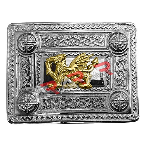 (AAR Scottish Kilt Belt Buckle Celtic Design with Welsh Dragon Gold Badge)
