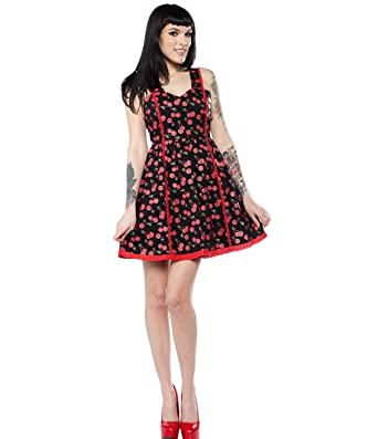 Sourpuss Clothing Goth Rockabilly Mini Skater Dress Cherry Cobbler ... 979c6324a